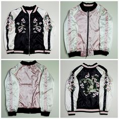 Japanese Vintage Stradivorious Black Pink Flowers Blossoms Embroidery Embroidered Art Souvenir Sukajan Jacket - Japan…