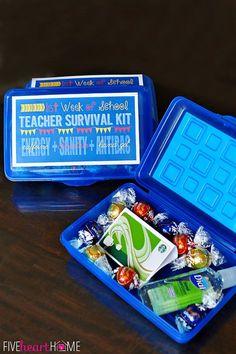 First Week of School Teacher Survival Kit Gift FREE PRINTABLE ~ Energy (caffeine) + Sanity (chocolate) + Antibacterial Hand Gel   {Five Heart Home}