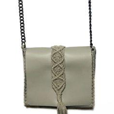 """Vanity mini"" sand grey bag Calf Leather, Leather Bag, Black Leather, Macrame Design, Leather Interior, Handmade Bags, Italian Leather, Mini Bag, Hand Stitching"