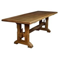 Large Oak Refectory Dining Table | From a unique collection of antique and modern dining room tables at https://www.1stdibs.com/furniture/tables/dining-room-tables/