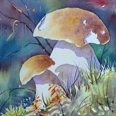 Mushroom Crafts, Mushroom Art, Watercolor Painting Techniques, Watercolor Paintings, Mixed Media Art, Art Pictures, Art Reference, Craft Projects, Stuffed Mushrooms