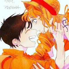 One Piece Manga, Nami One Piece, One Piece Ship, One Piece Fanart, Anime Neko, Anime Art, Romance, Luffy X Nami, One Piece Images