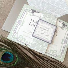 Art Deco mint Green wedding set designed by Top Table Design.