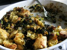 Awesome stuffing; add mushrooms and use challah for the bread.