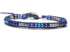 Hand Woven Single Wrap Lapiz Lazuli  Bracelet