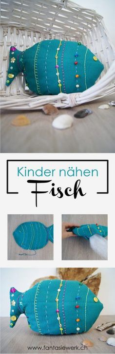 Children design a fish as a soft toy – a fantasy work - Stofftiere Diy Crafts To Do, Crafts For Kids, Arts And Crafts, Dog Quilts, Animal Silhouette, Craft Day, Fish Design, Textiles, Animal Crafts