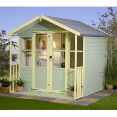 Storage shed.to Cottage for the kids Garden Playhouse, Garden Sheds, Secret Hideaway, Pool Houses, Beach Houses, Seaside Decor, She Sheds, Nautical Home, Back Gardens