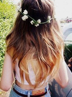 Love the flowers & the soft coloured dip dye!