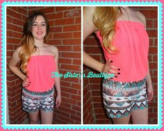Coral Aztec sequin romper · The Sister's Boutique · Online Store Powered by Storenvy