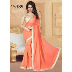 Designer Georgette Pearls Pattern Party Wear Orange Saree - 15389 ( ML - 896 )