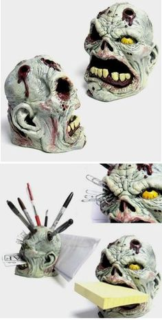 Horrible zombie head-shaped pen holder-maybe i could make this out of sculpey clay!