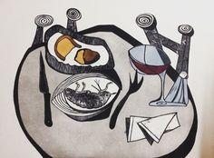 """A table for Bacchus"" woodcut Honorable Mention in the ninth international award engraving and wine vivanco foundation #printmaking #print #printing #grabado #gravura #xilografia #vino #fundacionvivanco #premio #artwork #art #engraving #woodcut by elinventordelinflantoscopio"