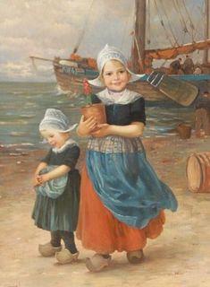 Edmond Louyot . deze franse schilder volgde de Dusseldorfer Akademie en maakt veel werken in de kustregio van Nederland en dan natuurlijk speciaal de vissersdorpen langs de kust  zijn werken zijn door heel Europa en Amerika verkocht voor hoge bedragen Doekmaat van dit mooie frisse werk is 80x60 . de bijpassende lijst is netjes en duur