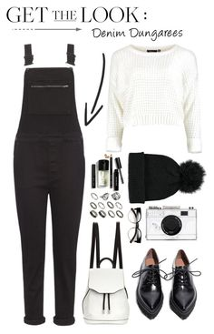 """Get the Look: Topshop Black Dungarees"" by bombaysapphire ❤ liked on Polyvore featuring moda, rag & bone, Whistles, ASOS, Kate Spade, Jeffrey Campbell, Forever 21, Bobbi Brown Cosmetics, blackandwhite e topshop"