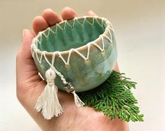 Today is day 6 of 14 for NEW listings on Etsy! This unique stitched ceramic bowl is now available. It's a perfect gift… – Pottery Pottery Bowls, Ceramic Pottery, Pottery Art, Thrown Pottery, Slab Pottery, Pottery Wheel, Ceramic Tableware, Ceramic Clay, Ceramic Bowls