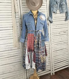 Boho Cowgirl Jeans Jacket Top S/M Prairie Chic Junk Gypsy