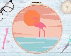 Modern Cross Stitch Pattern Flamingo Pattern Hoop Art Abstract Embroidery, Floral Embroidery Patterns, Flamingo Pattern, Modern Cross Stitch Patterns, Embroidery For Beginners, Modern Boho, Pattern Art, Fiber Art, Mittens