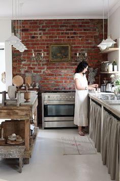 brick in the kitchen