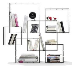 Konnex shelf by Florian Gross, 2011. Konnex is a perfect shelf system for people who want to apply changes to the layout from time to time. Depending on what you like to put in, you can even change the size of the compartments.