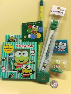 Keroppi Vintage Lot of 7 Items Silly Erasers Writing