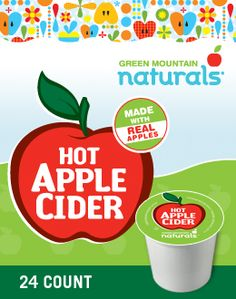 MADE WITH REAL APPLES Hot Apple Cider from Green Mountain Naturals® puts a new spin on a familiar favorite. The fresh, juicy goodness of sweet orchard apples is captured in convenient K-Cup® packs.