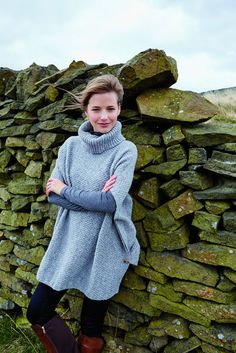 This beautiful textured turtle neck poncho is knitted in Valley Tweed, our 100% wool yarn made in Yorkshire, the home of Rowan. It was designed by Lisa Richardson and is ideal for layering.