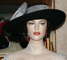 Tea Hat Edwardian Style Hat Somewhere in Time Hat NEW Design by Darna Lady Olivia Black     $299.00