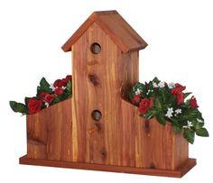 Amish Cedar Bird House With Double Planter