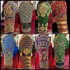 Mind blowing Maggam work blouse designs by Sajna bridal wear designer! Wedding Saree Blouse Designs, Best Blouse Designs, Pattu Saree Blouse Designs, Blouse Neck Designs, Peacock Blouse Designs, Zardosi Work Blouse, Wedding Sarees, Peacock Design, Blouse Styles