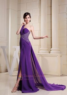 One Shoulder Purple Prom Dress With Single Strap And Slits  $155