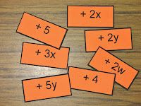 I use something like this to teach combining like terms -- students find their partner, add cards together, and determine the end result. Math Teacher, Math Classroom, Teaching Math, Classroom Ideas, Teaching Activities, Teaching Ideas, Algebra Activities, Math Resources, School Resources