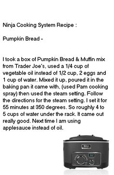 Pumpkin Bread in the Ninja Cooking System