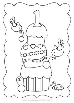 Happy 1st Birthday Printable Coloring Pages