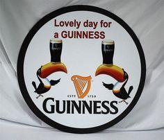 """GUINNESS Limerick Aluminum Sign  """"Lovely Day for a Guinness""""  24"""" diameter"""