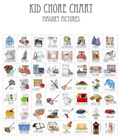 I recently posted a tutorial on how I made my kids' customized magnetic chore charts. To go along with the chore charts, I made picture magnets so that even my younger children that can'… Chores For Kids By Age, Toddler Chores, Toddler Discipline, Toddler Activities, Discipline Charts, Toddler Learning, Learning Activities, Toddler Boys, Chore Chart For Toddlers