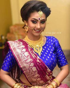 Bengali Bridal Makeup, Bengali Wedding, Bengali Bride, Saree Blouse Patterns, Saree Blouse Designs, Wedding Mehndi Designs, Brocade Blouses, Hair Setting, Bride Portrait