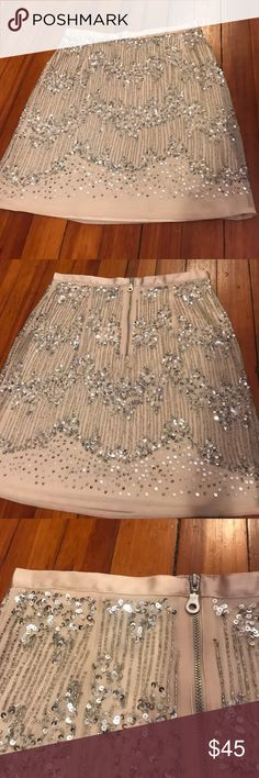 NWT H&M sequin mini skirt - perfect for a party! Never worn, new with tags H&M sequin mini skirt -- nude fabric with silver sequins (please refer to close up picture for best coloring). Exposed zipper in back and ribbon detail around waist. Length 16.5 inches and fits tight. Super cute & fun for your next event or night out! H&M Skirts Mini