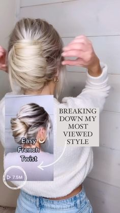 Easy Hairstyles For Long Hair, Pretty Hairstyles, Everyday Hairstyles, Thin Hair Updo, Simple Long Hair Updo, How To Braid Hair, Easy Morning Hairstyles, Long Hair Updos, Long Straight Hairstyles