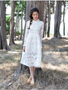 High Neck Lace Midi Prairie Dress #lace #pixiemarket #fashion @pixiemarket