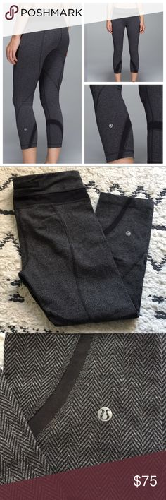 Lululemon Herringbone Inspire Crops Lulu herringbone inspire crops! I love these I just don't wear them as much as I would like to. The size tag was taken out but size dot confirms size 8. There is also a little wear on the inside pull tab to make them smaller but really no big deal just wanted to note. Also has two small front pockets which I love! lululemon athletica Pants