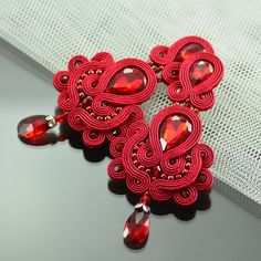 Clip on Long Red Soutache Earrings - Long Unique Maroon Glossy Earrings - Unique…