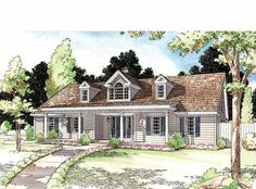 Country House Plan with 1578 Square Feet and 3 Bedrooms(s) from Dream Home Source | House Plan Code DHSW73172