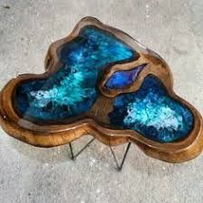 Image result for wood table with epoxy glass waterfall