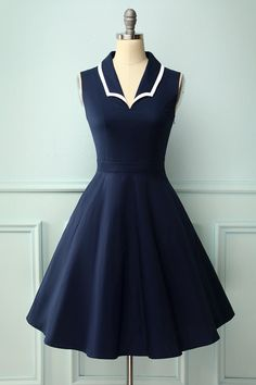 Zapaka Vintage Navy Blue A-line Lapel Formal Party Dresss Navy Dress Outfits, Retro Outfits, Vintage Outfits, Skirt Outfits, Mod Dress, Retro Dress, Cute Dresses, Vintage Dresses, 1950s Swing Dress