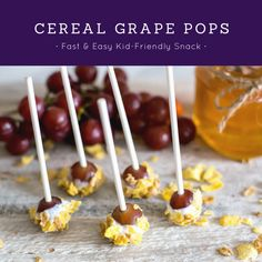 Cereal Covered Grape POPS with Post Cereals. AD On-the-Go Snacks for Kids. Cereal Snacks No-Bake Healthy Snacks Yogurt Snacks Fast Healthy Baking, Healthy Snacks, On The Go Snacks, Lemon Cheesecake, Unique Recipes, Creative Food, Caramel Apples, Kids Meals, Food To Make