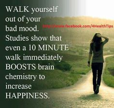 This WORKS, I'm not even kidding. If you're struggling with negative emotions. Power walking is even better! Power Walking, Walking Club, Health And Wellness, Health Tips, Health Fitness, Mental Health, Health Walk, Paleo Fitness, For Your Health