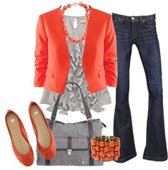 polyvore outfits | Orange & Grey Dressy Casual by heather-rolin featuring coral jewelry