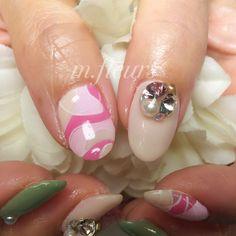 【Spring Green ×Pink】  #Nail #NailArt #NailDesign #Spring #BrightGreen #Pink #Mosaic #Mosaïque #HandPaint  #北摂 #箕面 #NailSalon #Mfleurs  #NailArtist #Mayu #네일 #네일아트 #美甲  #美甲師
