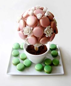 Turkish Delight Tree with Apple Cinnamon Macarons Macaron Boxes, Macaron Cake, Birthday Party Desserts, Wedding Desserts, Birthday Parties, Macaroon Tower, Flower Pot Cake, Macaron Filling, French Macaroons