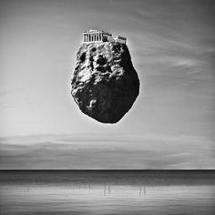 Architecture et décontextualisation Le photographe italien Giuseppe Lo Schiavo a imaginé cette étonnante série de clichés surréalistes appelée « Levitation ». Représentant des symboles architecturaux de différentes époques et lieux de l'humanité sur des rochers géants en lévitation, ces images laissent rêveur